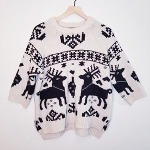 🌻 H&M Oversize Deer Ugly Christmas Sweater
